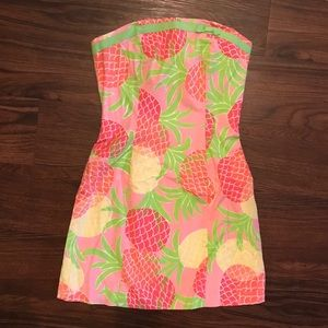 Lilly Pulitzer Pineapple Print Strapless Dress